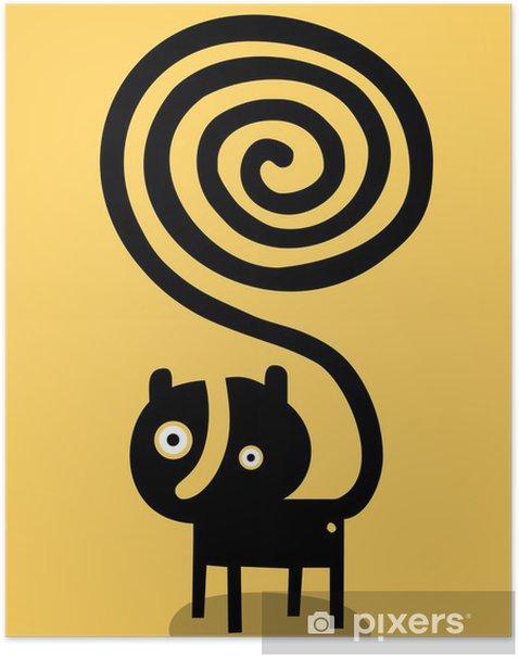 Poster Chat avec la queue en spirale - Animaux imaginaires