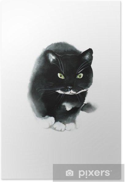 Poster Chat noir sur fond blanc - Thèmes