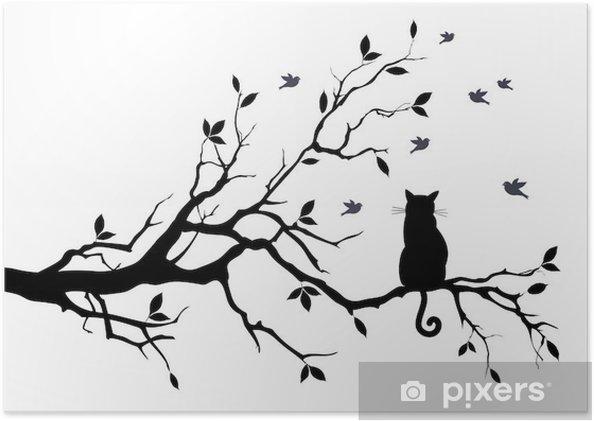 Poster Chat sur un arbre avec des oiseaux, vecteur - science &; nature