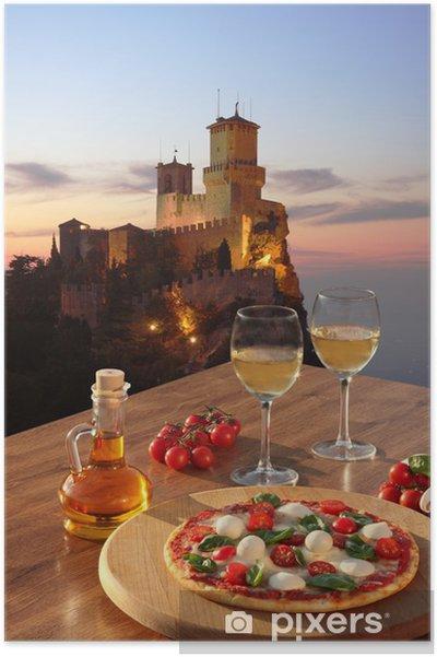 Poster Château de San Marino avec pizza italienne en Italie - Thèmes