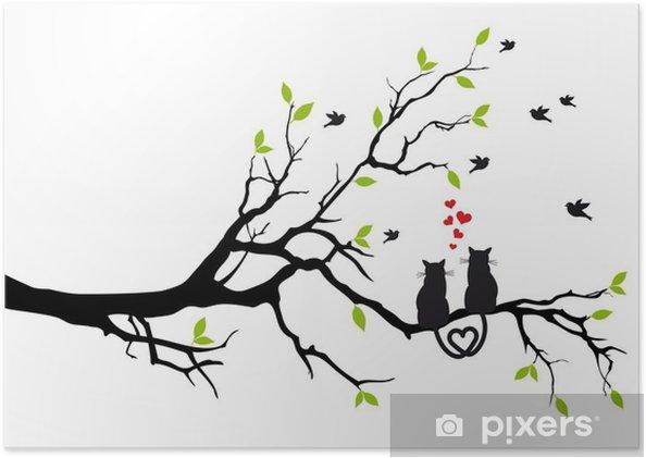 Poster Chats dans l'amour sur une branche d'arbre, vecteur - Destin