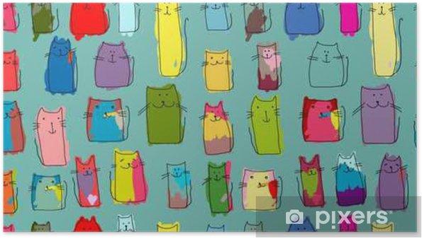 Poster Chats drôle famille, motif sans couture pour votre conception - Animaux