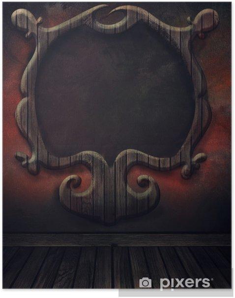 Poster Chaussée de cru avec mur et cadre en bois antique. Art abstrait de b - Bâtiments publics