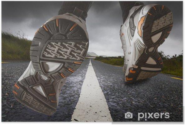 Poster Chaussures de sport de course close-up - Thèmes