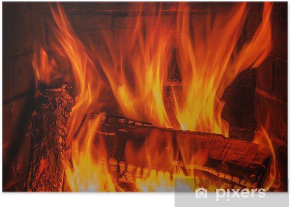 Poster Cheminée avec bois et le feu - iStaging