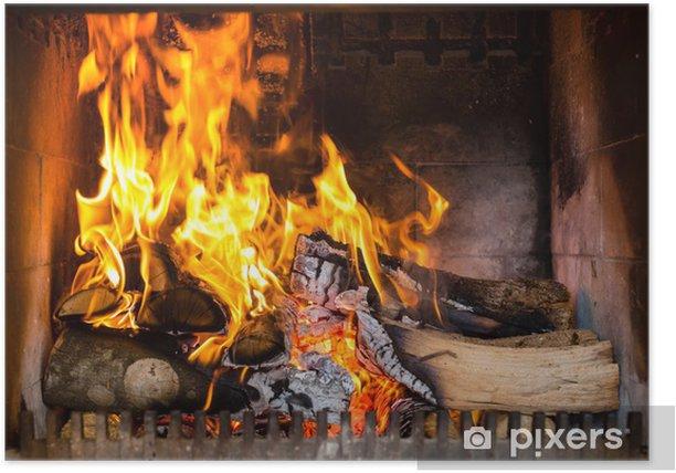 Poster Cheminée avec flammes et le feu - Thèmes