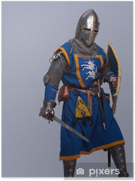 Poster Chevalier médiéval sur fond gris - Hommes