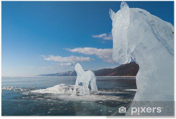 Poster Chevaux, une des sculptures de glace - Saisons