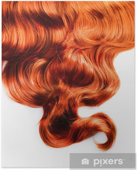 Poster Cheveux rouges isolées sur blanc - Mode