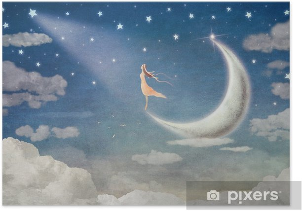 Póster Chica en la luna admira el cielo nocturno - ilustración de arte - Sensaciones y emociones