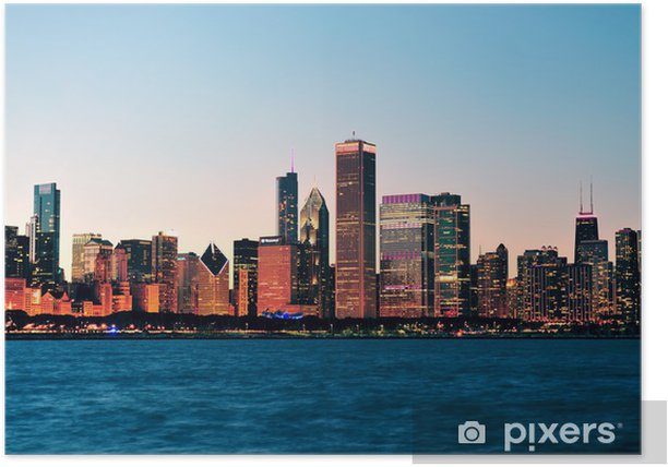 Chicago skyline at dusk Poster - Themes