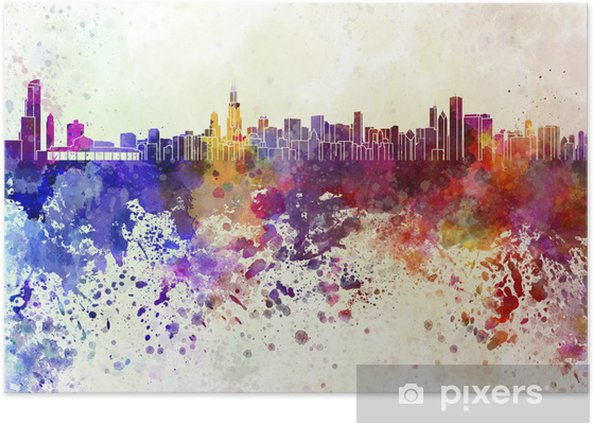 Chicago skyline in watercolor background Poster - Themes