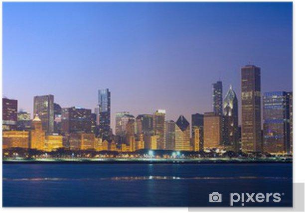 Poster Chicago skyline panorama sur le lac Michigan et le coucher du soleil, IL, USA - Thèmes