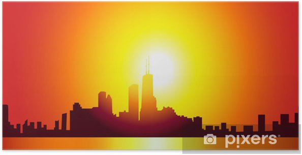 Poster Chicago Skyline-Vector - Paysages urbains