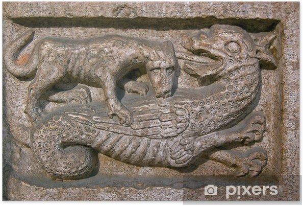 Poster Chien mord un Dragon - Cathédrale de Trente en Italie - Europe