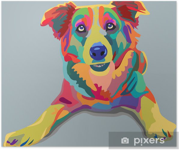 Poster Chien pop-art - Styles