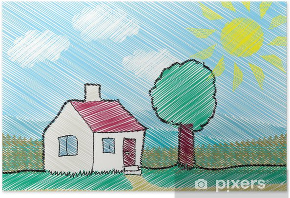 Child sketch of a house, tree and sun Poster - Backgrounds