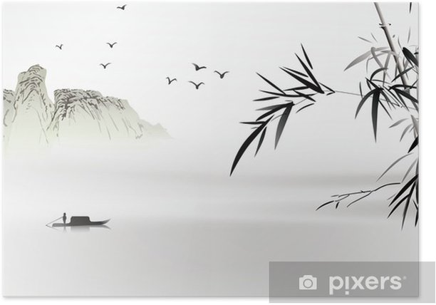 Poster Chinees schilderij - Natuur