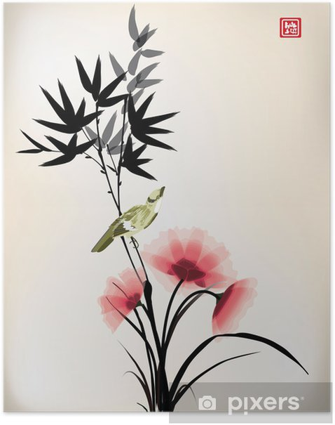 Chinese ink style flower bird drawing Poster - Criteo