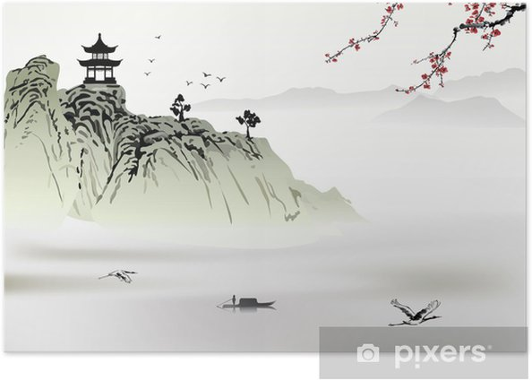 Chinese landscape painting Poster - Mountains