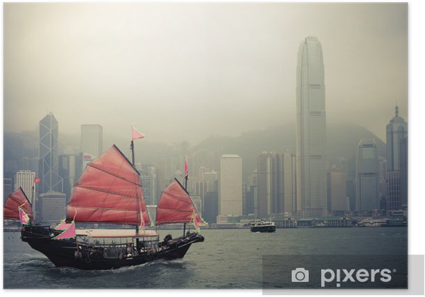 chinese style sailboat in Hong Kong Poster - Styles