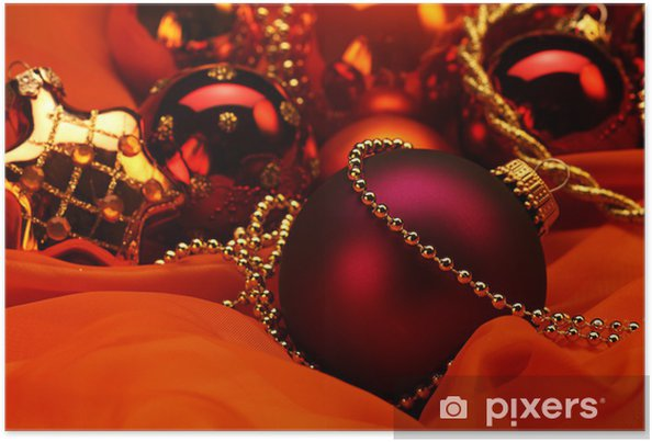 Christbaumkugeln Rot 15 Cm.Christbaumkugeln Deko Auf Satin Poster