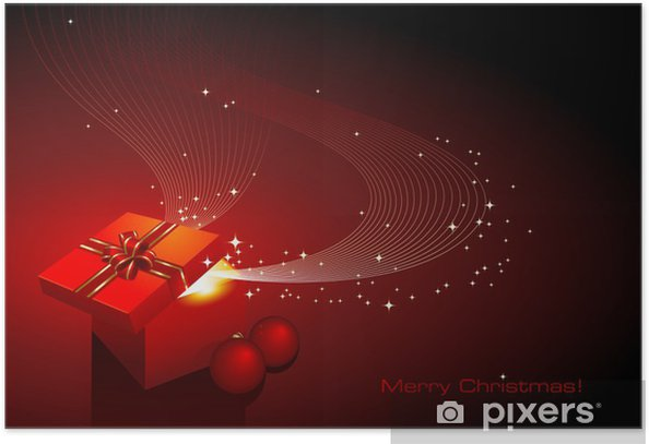 christmas background with gift and ornaments Poster - International Celebrations