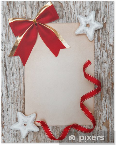 Christmas card with red bow, stars and ribbon Poster