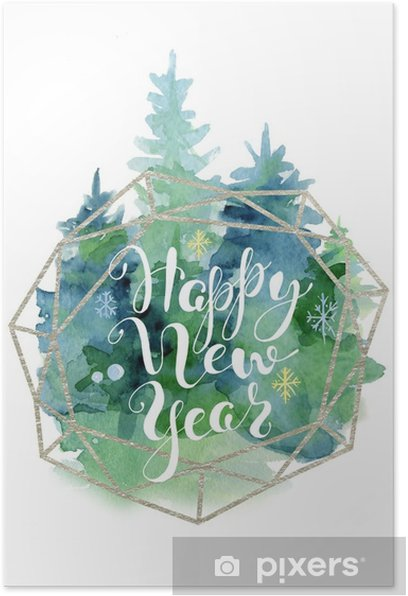 Christmas Tree Watercolor Card With Lettering Quote Happy New Year