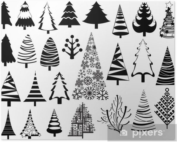 Christmas Trees Silhouette.Christmas Trees Silhouettes Collection Poster