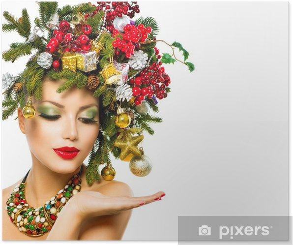 Christmas Woman Beautiful Holiday Christmas Tree Hairstyle Poster