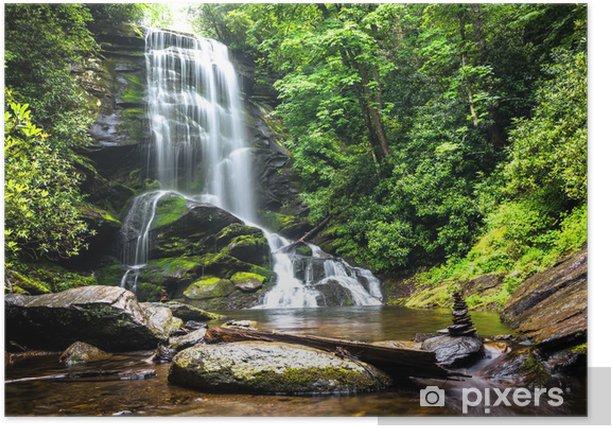 Poster Chute d'eau au milieu de la verdure de la forêt - Cascades