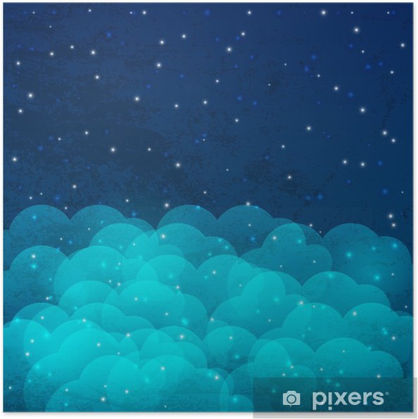 Póster Cielo nocturno con las estrellas y las nubes brillantes - Estrellas
