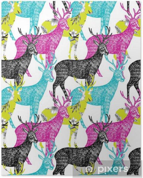 Póster Ciervos dibujado a mano de fondo sin fisuras - Animales