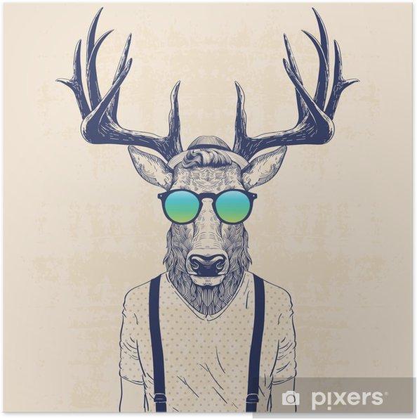 Póster Ciervos fresco - Animales