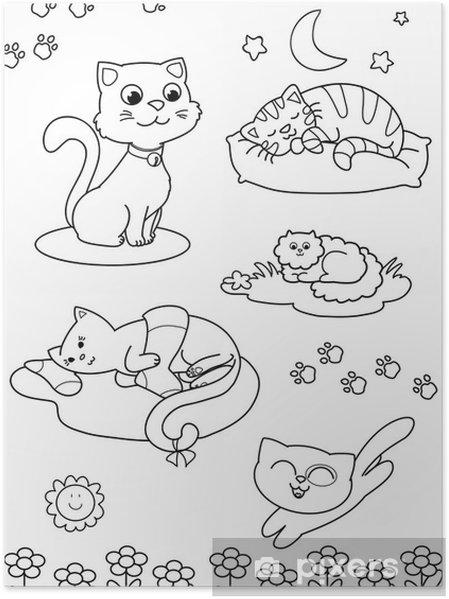 Póster Cinco gatos lindos página para colorear para los niños ...