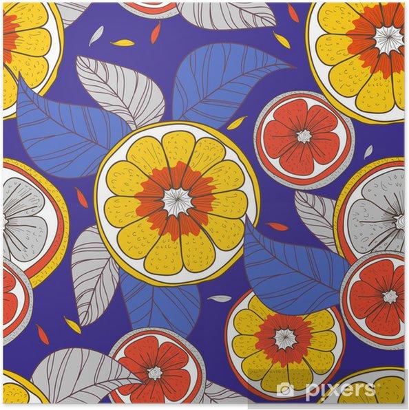 Poster Citrons avec des feuilles - Arrière plans