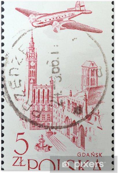 Poster City Hall, Gdansk et avion (Pologne 1957) - Bâtiments publics