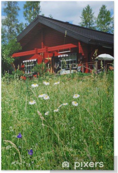 Poster Close-up d'une prairie d'été près de la maison - Agriculture