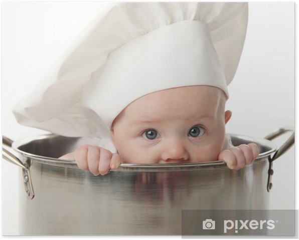 Close up of baby sitting in stock pot Poster - Meals