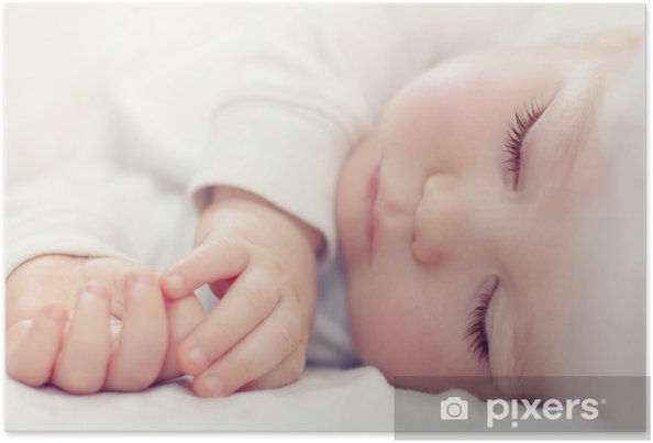 cfeeb7eec849 close-up portrait of a beautiful sleeping baby on white Poster ...