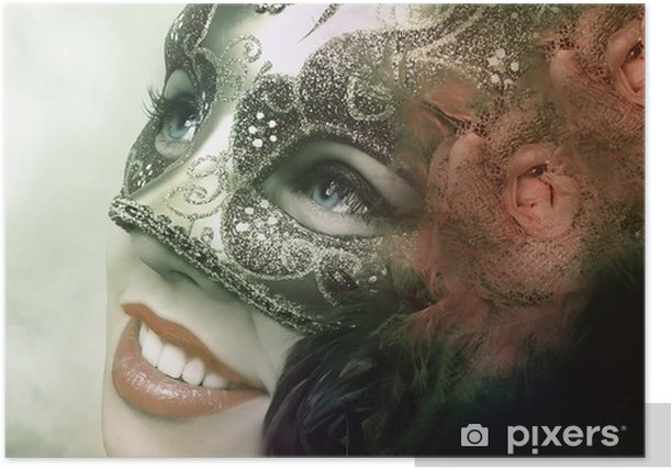 Close up portrait of woman in green mask Poster - Entertainment