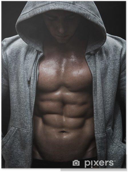 Poster Close-up van gespierde sportieve man na gewichten training - Bestemmingen