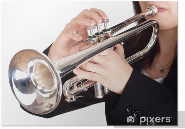 Closeup of Trumpet Player Playing Poster - Women