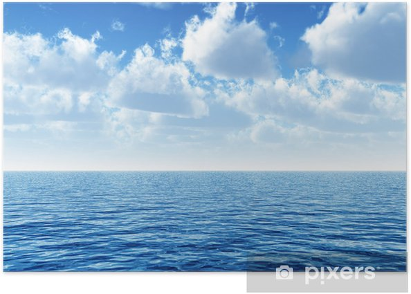 cloudy blue sky above a blue surface of the sea Poster - Themes