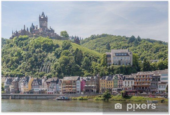 Poster Cochem Met Kasteel Langs De Rivier De Moezel In Duitsland