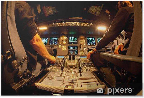 Poster Cockpit 's nachts - Lucht