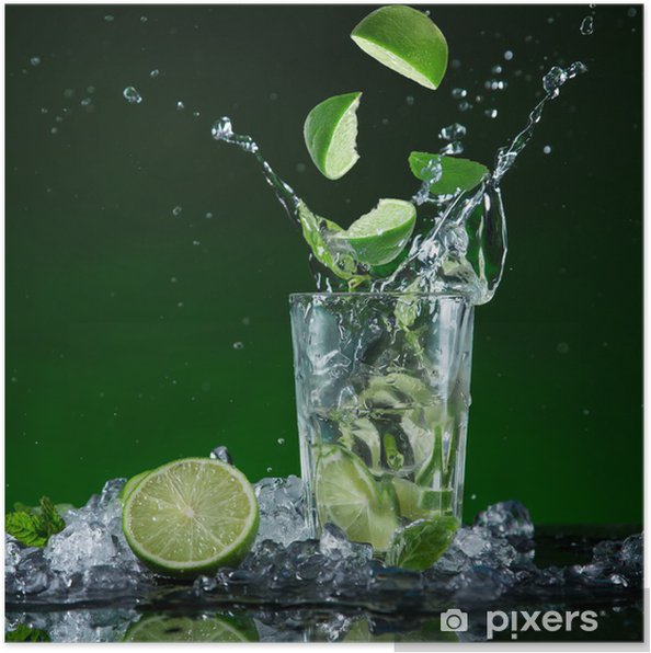 Poster Cocktail de fruits frais dans le gel des éclaboussures de mouvement - Repas