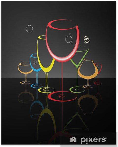Poster Cocktailglas abstracte illustratie - Restaurant