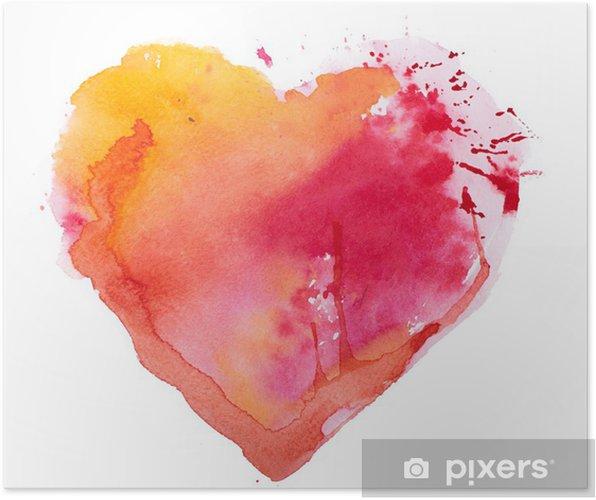 Poster Coeur d'aquarelle. Concept - l'amour, les relations, l'art, la peinture - Thèmes